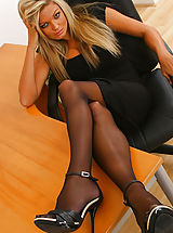 Stocking High Heels, Naughty Jennifer lets her black minidress hit the floor as she strips in her office