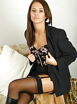 stockings and suspenders, Promotional gallery for Louise L with samples from some of her sets.
