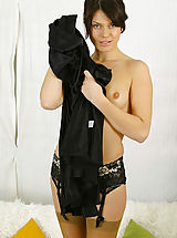 silk stockings, Abbi in black evening dress with tan stockings