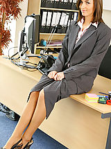 Secretary Sex, Melanies perfect figure is flattered by the sexy lingerie under her suit skirt and blouse