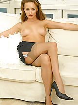 thigh high stockings, Stacey in secretary outfit with stockings