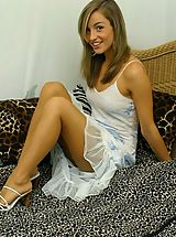 Open Legs, Stunning Melanie in a sexy summer dress and heels.