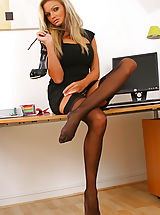 Secretary Pics: Naughty Jennifer lets her black minidress hit the floor as she strips in her office