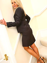 Pantyhose Pics: Gorgeous Emma Claire in ther lovely secretary suit with pantyhose on