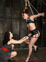 High.Heels Pics: Satine Phoneix takes the cattle prod and a severe pussy caning