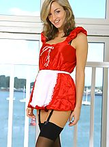 Classy Legs, Saucy French maid Melanie dressed to thrill with sexy french knickers and dark stockings.