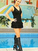 Black High Heels, Carla in sexy black outfit by a pool