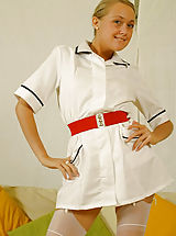 Lucy Anne is looking amazing in nurse uniform with silk lingerie and stockings