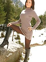 High Heels Legs, Stunning Gemma M teasing her way out of beige mini dress with brown tights and boots