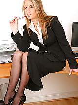 Legs, Blonde is smart black secretary outfit with sexy black lingerie and stockings