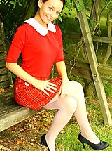 Pantyhose Pics: Stunning Carla in red college uniform and white pantyhose.