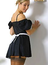 Office Sex, Melanie in a french maids outfit.