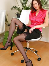Legs, Carole looking stunning in satin top and tight skirt. Non Nude