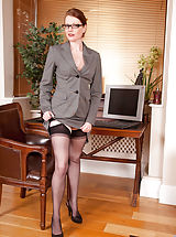 corsets stockings, Gorgeous Anilos office temp strips down to her naughty lingerie on lunch break