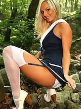 Sapphic Erotica Pics: Sailor Tammy strips out of her uniform to show off her perfect body.