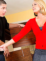 Mellanie Monroe calls over he young contractor to ride his innocent cock.