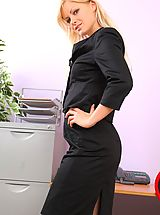 Blonde Bridget hides cute yellow lingerie beneath her office clothes.