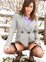High.Heels Pics: Emma H looking stunning in the snow in her sexy secretary outfit.
