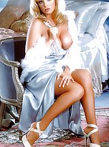 Suze Randall Pics: Lots of lavender silk and soft skin - Lydia has never looked more lovely.