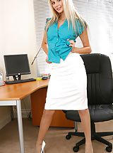 Secretary Sex, Breathtaking blonde teases her way out of the satin blouse and knee length skirt. Non Nude