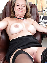 Denim Skirts, Lovely busty mom strips in front of her laptop