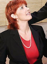 Busty Secretary, Sex starved redheaded Anilos Calliste gets rammed hard by the big cock of an experienced stud