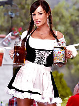Long Legs, Luscious Lisa Ann is ready to serve you up a tall, cold one in one of her gigantic jugs but wants a hot, fat one in return!