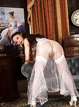 Asian wife Aya May bare in white nylons.