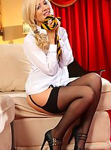 garter belt, Kinky college girl is sent home from class for teasing her classmates, but comes home and continues to tease down to just her heels and stockings.