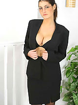 Naughty Office, Very busty Emma in secretary outfit with black stockings