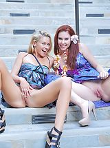 Short Skirts, Lena and Melody Public Fun