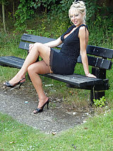 High Heels Legs, Michelle Manzer loves getting her sexy body and vintage nyloned legs out and about, flashing at her local park for the pleasure of onlookers...