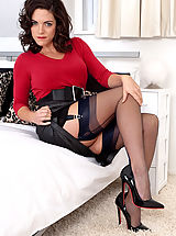 Classic Pumps, Brunette Rebekah Dee teases in vintage lingerie and nylons!