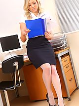 Between Legs, White stockings and a short skirt is the perfect attire in this office!