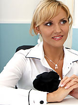 Between Legs, Anilos blonde Zlata gets horny while in the office