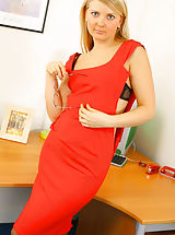 Naughty Office, Blonde 'lady in red'!! Oxi looking stunning in her evening dress and black lingerie.