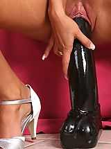 Pink High Heels, Slut fucks two huge dildos