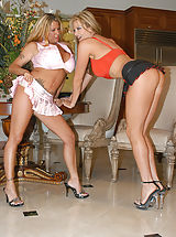 High Heels Legs, Summer and Kelly Madison suck each others big tits.