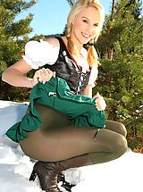 Pantyhose Pics: Joceline looking stunning in fraulein outfit with boots and pantyhose.