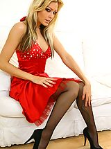 Stiletto Heels, Beauty Natasha looks stunning wearing red evening dress