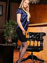 Office Sex, Rose hides kinky blue lingerie beneath her smart office clothes.