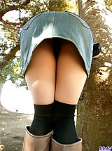 denim skirts, Tsukasa is a horny model who shows off her fine tits and ass as she is posing