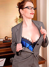Office Sex, Holly Kiss, Gorgeous Anilos office temp strips down to her naughty lingerie on lunch break