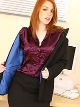 Secretary Fuck, Beautiful secretary in black office suit and silk blouse.