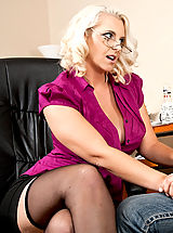 Mandy Sweet,Seduced By A Milf Johnson, Mandy Sweet, Cougar, Stranger, Chair, Desk, Floor, Office, Big Butt, Big Breasts, Blonde, Blow Job, Curvy, Facial, Fake Breasts, Glasses, high heel pumps, Mature, Shaved, Stockings, Tattoos,