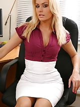 Hot Legs, Blonde looks stunning in her office wearing a tight blouse and a tight long white skirt. Non Nude