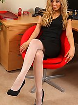 Black High Heels, Beth looking smart in this sophisticated black dress and white hosiery.