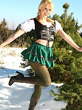 under skirt, Joceline looking stunning in fraulein outfit with boots and pantyhose.