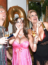 Kelly Madison and Jenna Presley ring in the New Year with a cock in their mouths and a strap on in their pussies.
