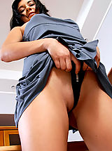 Mini Skirts, Gorgeous Latina checks out her half naked body in the mirror